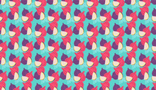 Seamless Pattern Of Figs Virtual Background For Zoom. Whole Pink Figs Fruits On Blue Light Background For Patterns. Abstract Bright Colors Vector Design Illustration