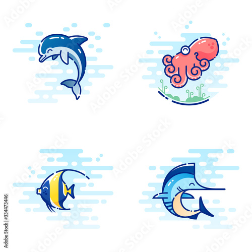 Obraz Set of four sea creatures, consisting of dolphin, octopus, moorish idol  and marlin, drawn in cute colorful MBE style - fototapety do salonu