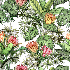 Panel Szklany Podświetlane Egzotyczne Floral seamless pattern with exotic protea flowers and monstera leaves.