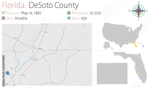 Large and detailed map of DeSoto county in Florida, USA. Wallpaper Mural