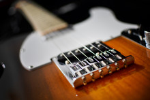 Fender Telecaster Electric Guitar In Two Tone Sunburst Color Close-up