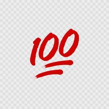 100 Percent Emoji. One Hundred Percent Sign. Vector
