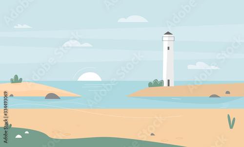 Fototapeta Ocean or sea coast landscape flat vector illustration. Nature seascape background, concept obraz