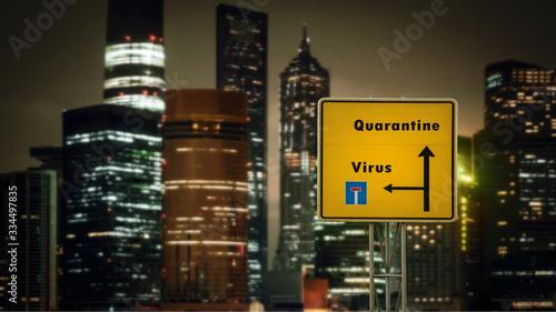 Obraz na plátně Street Sign to Quarantine versus Virus