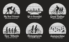 People On Bikes. Set Of Black ...