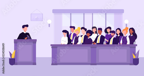 Leinwand Poster Illustration of people, judge and courthouse in jury trial concept