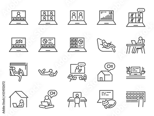 Cuadros en Lienzo Work from home line icon set