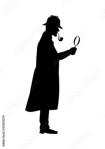 Canvas-taulu Englischer Detektiv mit Lupe und Pfeife