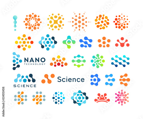 Fotografiet Set of science logo templates, creative dotted logotypes, modern abstract shapes