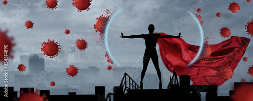 Portrait of young hero woman with super person red cape protect city Fototapet