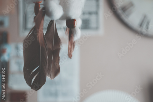 Photo vintage photography of feathers in bedroom