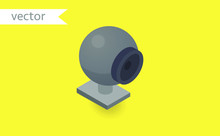 Web Cam Isolated On Yellow Bac...