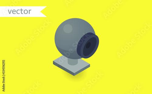 Obraz na plátně Web cam isolated on yellow background