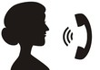 call center, woman phone, black silhouette, vector icon