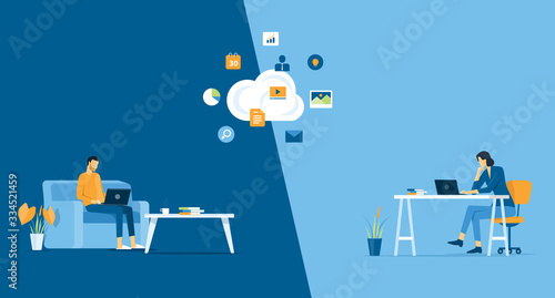 Fototapeta flat vector work from home workplace concept and business smart working online c