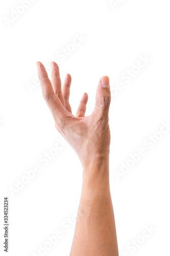 Photo Isolated hand reaching up for something on white background.