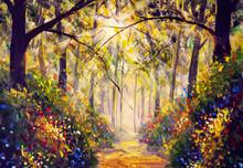 Sunny Forest Wood Trees Origin...