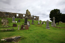 Cill Chriosd - Skye Island (Scotland), UK - August 13, 2018: Gravestones In The Graveyard Of Cill Chriosd / Kilchrist Church On The Isle Of Skye, Inner Hebrides, Scotland, United Kingdom