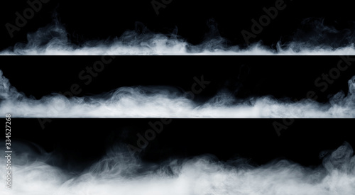 Fotografia Panoramic view of the abstract fog or smoke move on black background