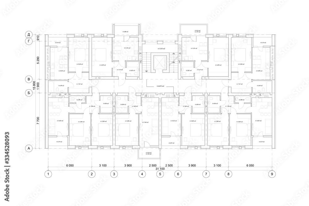 Fototapeta Detailed architectural multistory house floor plan, apartment layout, blueprint. Vector illustration