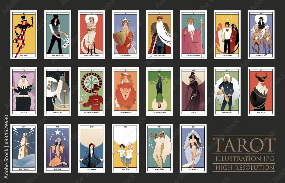 Fototapeta 22 Major Arcana of the Tarot card in full. JPG illustrations in high resolution