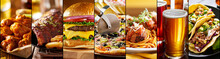 Collage Of American Restaurant Food Items