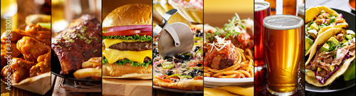 collage of american restaurant food items - 334531001