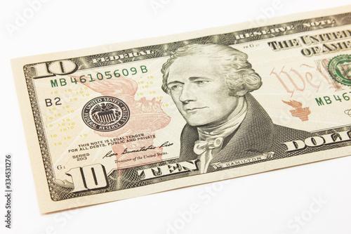 Photo Ten dollar bills cash on white background