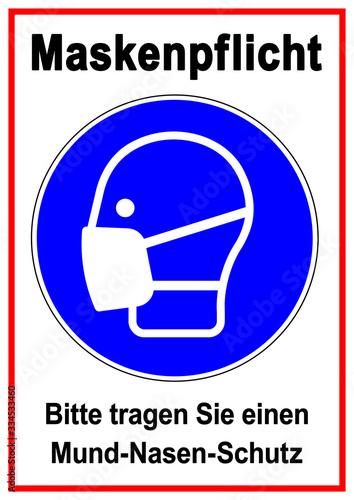 ds81 DiskretionSchild - Gebotsschild, Gebotszeichen: Schild mit der Aufschrift Maskenpflicht Wallpaper Mural