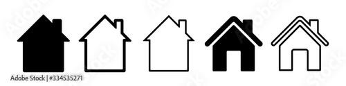 Obraz Home flat icon set vector illustration - fototapety do salonu