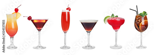 Set of tasty alcoholic cocktails on white background Canvas Print