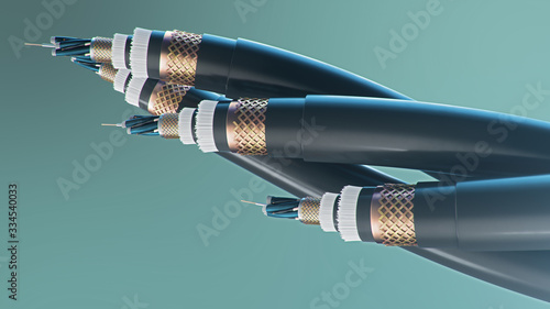 3d illustration, concept of fiber optic cable on a colored background. Future cable technology. Detailed curved cable in cross section. Powerful communication technology. Network concept.