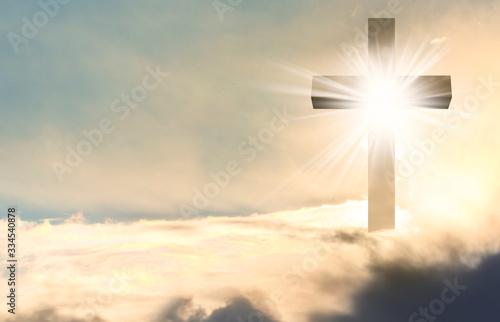 Cuadros en Lienzo Silhouette of cross against blue sky. Christian religion