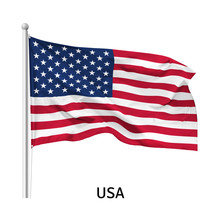 Flag Of The United States Of America In The Wind On Flagpole, Isolated On White Background, Vector