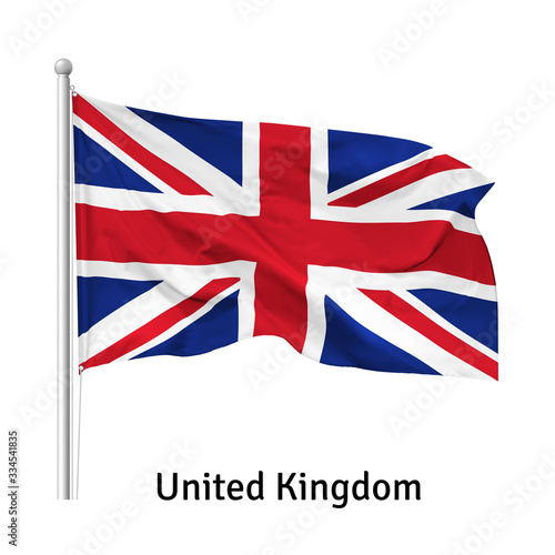 Photo Flag of the United Kingdom (the Union Jack or the Union Flag)  in the wind on fl