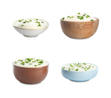 Set Of Delicious Sour Cream With Onion In Bowls On White Background