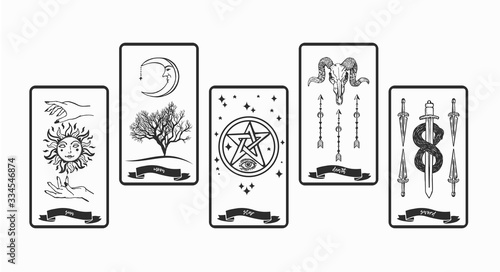Photo Tarot cards collection for fortunetelling