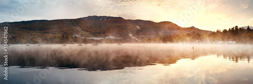 Morning foggy lake Wallpaper Mural