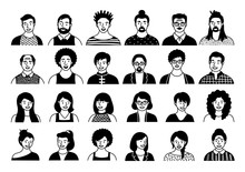 Hand Drawn Set Of Persons, Avatars, People Heads Of Different Ethnicity And Age In Flat Style. Multi Nationality People Faces Social Network Line Icons Vector Collection.