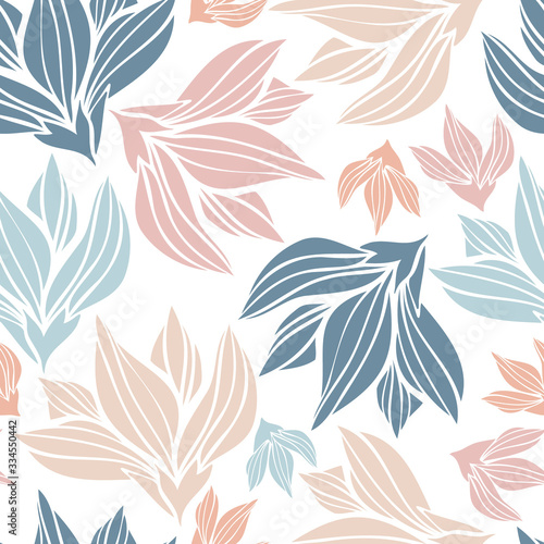 Naklejki rośliny  seamless-vector-botanical-colourful-pattern-with-lined-decorative-spring-light-tulips-on-white