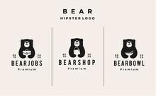Bear Job Shop Bowl Logo Vector...