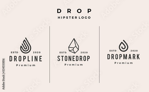 Obraz drop line stone logo vector icon hipster vintage retro illustration - fototapety do salonu