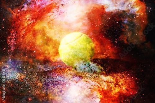 Fototapeta Kort tenisowy z piłką tenisową na abstrakcyjnym tle