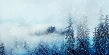 Mountain Snowy Landscape And S...