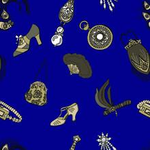 1920s Seamless Pattern Of Art ...