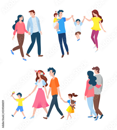 Fototapeta Smiling people going together, portrait view of family set, happy parents walking with children, man and woman in casual clothes, togetherness vector obraz na płótnie