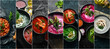 Leinwandbild Motiv Set of colored soups, photo collage. Healthy food. On a black stone background.