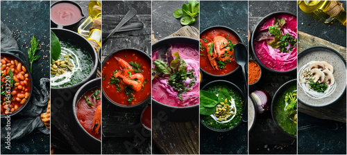 Fototapeta Set of colored soups, photo collage. Healthy food. On a black stone background. obraz