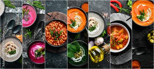 Fototapeta Photo collage. Set of soups. Colored cream soups. Top view. obraz