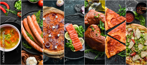 Collage of food and dishes of meat, fish and vegetables. © Yaruniv-Studio
